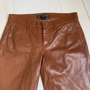 Ralph Lauren Black Label | Chestnut Lambskin Pants